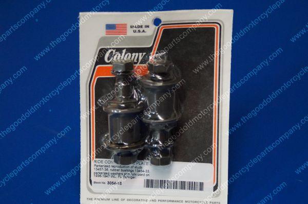 Colony #3054-16 Ride Control Side Plate Stud Kit Parkerized Harley WL FL Springe